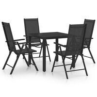 vidaXL Set de masă pentru grădină, 5 piese, negru, aluminiu