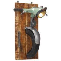 vidaXL Lampă de perete design scuter, fier și lemn masiv de mango