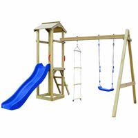 vidaXL Set joacă din lemn cu tobogan, scări, leagăn 242x237x218cm