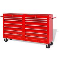 vidaXL Cărucior scule de atelier cu 14 sertare, oțel, XXL, roșu