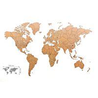 MiMi Innovations Decor perete harta lumii Luxury maro 150x90 cm lemn