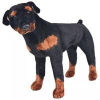 vidaXL Jucărie de pluș câine rottweiler, negru și maro XXL