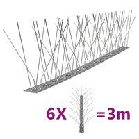 vidaXL Set bandă cu țepi antipăsări cu 5 rânduri, 6 buc., oțel, 3 m