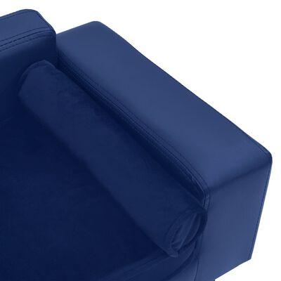vidaXL Canapea câini, albastru, 81x43x31cm, pluș & piele ecologică
