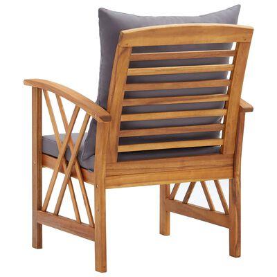 vidaXL Scaune de grădină cu perne, 2 buc., lemn masiv de acacia
