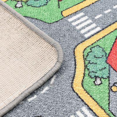 vidaXL Covoraș de joacă, fir buclat, 90 x 200 cm, model străzi urbane