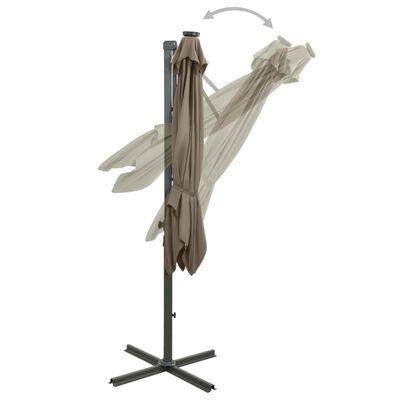 vidaXL Umbrelă suspendată cu stâlp și LED-uri, gri taupe, 250 cm