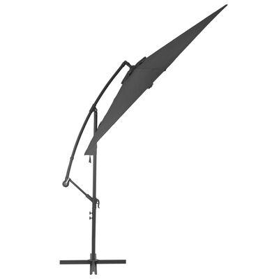 vidaXL Umbrelă suspendată cu stâlp din aluminiu, 300 cm, antracit