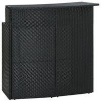vidaXL Masă de bar de grădină, negru, 120x55x110 cm, poliratan