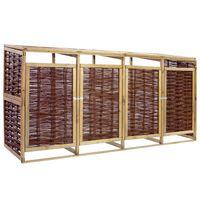 vidaXL Magazie de pubele cvadruplă, lemn de pin și răchită