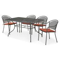 Set masa dreptunghiulara si 4 scaune CHAYNE  gri/portocaliu