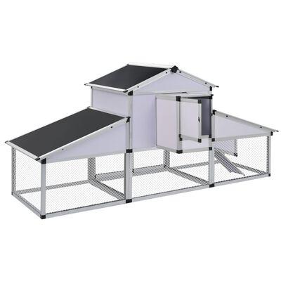 41323 vidaXL Coteț de găini cu zonă de mișcare și repaus aluminiu