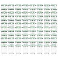 vidaXL Borcane sticlă pentru gem, capace alb și verde, 96 buc., 400 ml