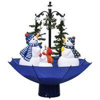 vidaXL Brad de Crăciun cu ninsoare și bază umbrelă albastru 75 cm PVC