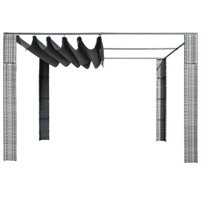 vidaXL Pavilion cu acoperiș, gri/antracit, 300x300x200 cm, poliratan