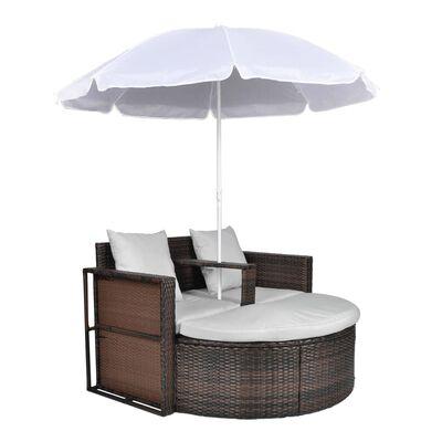 vidaXL Pat de grădină cu umbrelă de soare, maro, poliratan