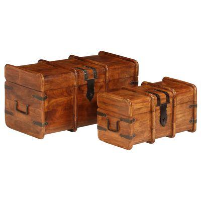 vidaXL Set cufere, 2 buc., lemn masiv de salcâm, finisaj sheesham