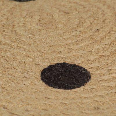 vidaXL Covor manual cu imprimeu buline, 150 cm, iută