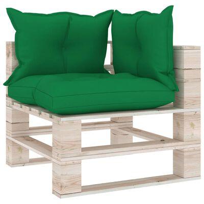 vidaXL Set mobilier grădină din paleți, 5 piese, cu perne, lemn de pin
