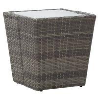 vidaXL Masă de ceai gri 41,5x41,5x43 cm poliratan sticlă securizată