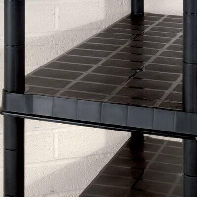 vidaXL Raft de depozitare cu 5 polițe, negru, 255x40x185 cm, plastic