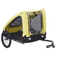 vidaXL Remorcă de bicicletă pentru animale de companie, galben & negru