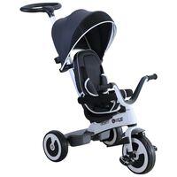 Tricicleta Carucior Pentru Copii Cu Maner Si Acoperis, Gri Inchis