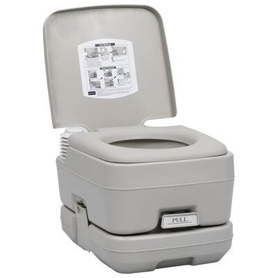 vidaXL Toaletă portabilă pentru camping, gri, 10+10 L