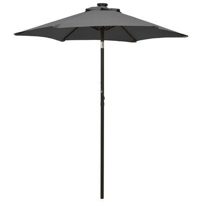 vidaXL Umbrelă de soare cu lumini LED, antracit, 200x211 cm, aluminiu