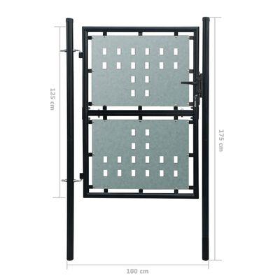 Poartă pentru gard simplă, negru, 100 x 175 cm