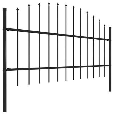 vidaXL Gard de grădină cu vârf suliță, negru, (0,75-1) x 11,9 m, oțel