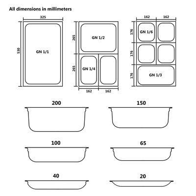 vidaXL Recipiente Gastronorm 12 buc. GN 1/3 20 mm oțel inoxidabil