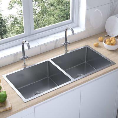 vidaXL Chiuvetă bucătărie cu două cuve, oțel inoxidabil