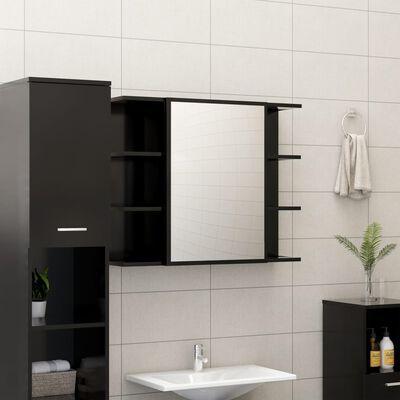vidaXL Set mobilier baie, 3 piece, negru, PAL