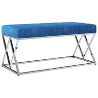 vidaXL Bancă, albastru, 97 cm, țesătură din catifea și oțel inoxidabil