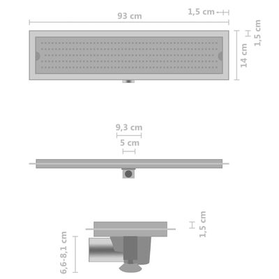 vidaXL Rigolă de duș Dots, 93 x 14 cm, oțel inoxidabil