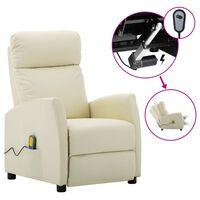 vidaXL Electric Massage Reclining Chair Cream Faux Leather (289724+327164)