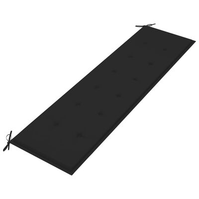 vidaXL Bancă de grădină, cu pernă neagră, 175 cm, lemn masiv de tec