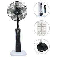 vidaXL Ventilator cu ceață, piedestal și telecomandă negru/alb