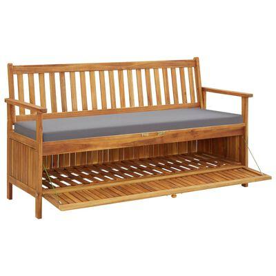 vidaXL Bancă depozitare de grădină cu pernă, 148 cm, lemn de acacia