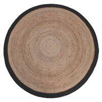 LABEL51 Covor de iută, rotund, 150 cm, negru