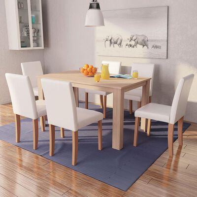 vidaXL Masă și scaune 7 piese, piele artificială, stejar, crem