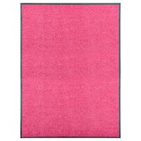vidaXL Covoraș de ușă lavabil roz 90x120 cm