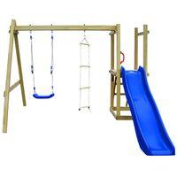 vidaXL Set joacă din lemn cu tobogan, scări, leagăn 242x237x175 cm