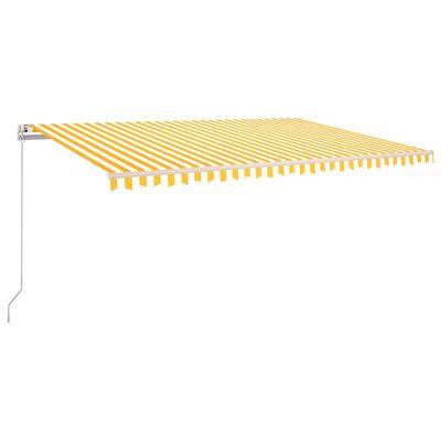 vidaXL Copertină retractabilă manual cu LED, galben și alb, 500x300 cm