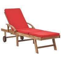 vidaXL Șezlong cu pernă, roșu, lemn masiv de tec