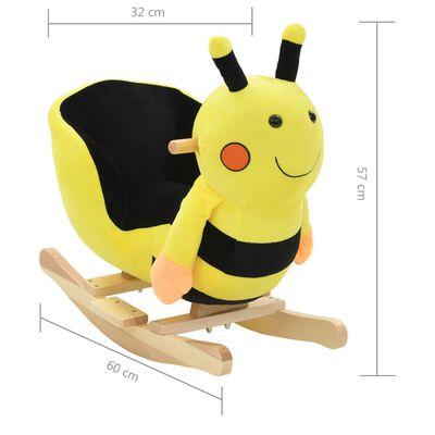 vidaXL Balansoar animal cu spătar, bondar, pluș, 60x32x57 cm, galben