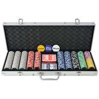 vidaXL Set de poker cu 500 de jetoane cu laser din aluminiu