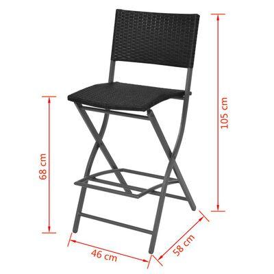 vidaXL Set mobilier exterior pliabil, 7 piese, negru oțel, poliratan
