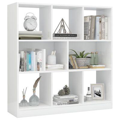 vidaXL Bibliotecă, alb lucios, 97,5 x 29,5 x 100 cm, PAL